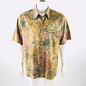 Tori Richard Tropical Leaf Button Up Shirt Sz XL